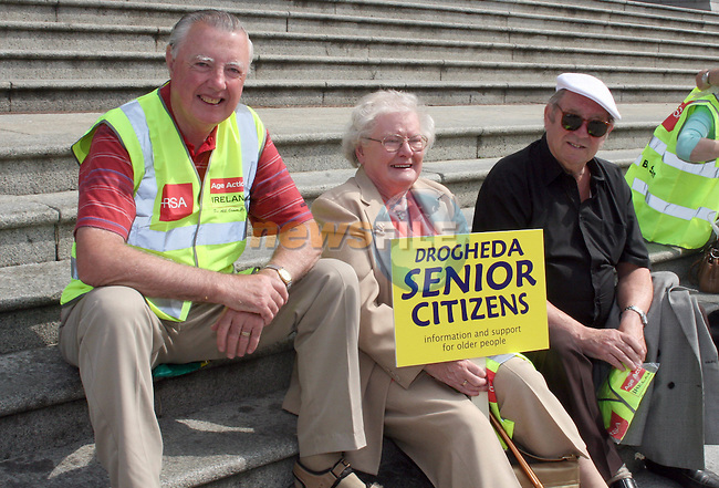 Christopher Doggett, Nuala Early and Paddy Cluskey at the Protest of Drogheda Senior Citizens against the Proposed Bus Route Cuts. The Group marched from St. Peters Church, West Street to the Bus Station where they attempted to meet with the manager...Photo NEWSFILE/Jenny Matthews.(Photo credit should read Jenny Matthews/NEWSFILE)....This Picture has been sent you under the condtions enclosed by:.Newsfile Ltd..The Studio,.Millmount Abbey,.Drogheda,.Co Meath..Ireland..Tel: +353(0)41-9871240.Fax: +353(0)41-9871260.GSM: +353(0)86-2500958.email: pictures@newsfile.ie.www.newsfile.ie.FTP: 193.120.102.198.