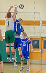 22 February 2015: Yeshiva University Maccabee Middle Blocker Eliakim Gartenberg, a Senior from San Jose, CA, in action against the Sage College Gators at the Kahl Gymnasium, in Albany, NY. The Maccabees fell to the Gators 3-0 in NCAA Division III Men's Volleyball Skyline play. Mandatory Credit: Ed Wolfstein Photo *** RAW (NEF) Image File Available ***