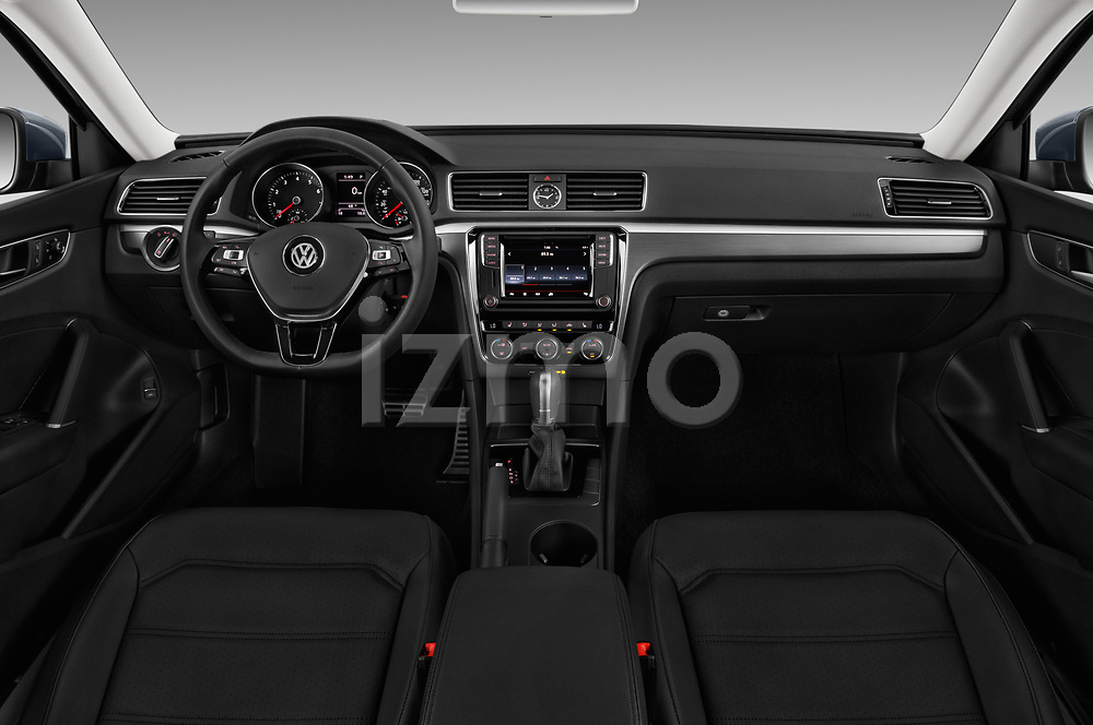 Stock photo of straight dashboard view of 2017 Volkswagen Passat R-Line 4 Door Sedan