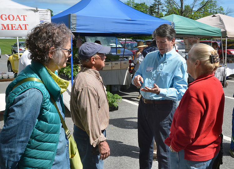 U.S. Representative of the 19th District, John Faso, talking with constituents at the Opening Day of the 2017 Saugerties Farmer's Market on Saturday, May 27, 2017. Photo by Jim Peppler. Copyright/Jim Peppler-2017.