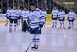 February 20, 2016 - Colorado Springs, Colorado, U.S. -   Air Force captain, Ben Carey #26, is recognized on Senior Night prior to an NCAA ice hockey game between the Robert Morris University Colonials and the Air Force Academy Falcons at Cadet Ice Arena, United States Air Force Academy, Colorado Springs, Colorado.  Air Force defeats Robert Morris 4-1