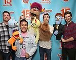 """Nick Kohn,  Jamie Glickman, Jason Jacoby and Matt Dengler with Avenue Q & Puppetry Fans during """"Avenue Q"""" Celebrates World Puppetry Day at The New World Stages on 3/21/2019 in New York City."""