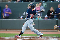 Andrew Benintendi (16) of the Salem Red Sox follows through on his swing against the Winston-Salem Dash at BB&T Ballpark on April 15, 2016 in Winston-Salem, North Carolina.  The Red Sox defeated the Dash 3-2.  (Brian Westerholt/Four Seam Images)