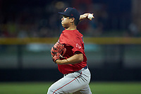 Salem Red Sox starting pitcher Daniel Gonzalez (47) in action against the Fayetteville Woodpeckers at Segra Stadium on May 15, 2019 in Fayetteville, North Carolina. The Woodpeckers defeated the Red Sox 6-2. (Brian Westerholt/Four Seam Images)