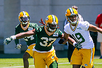 Green Bay Packers safety Aaron Taylor (37) and wide receiver Malachi Dupre (19) during an OTA on June 1, 2017 at Clark Hinkle Field in Green Bay, Wisconsin. (Brad Krause/Krause Sports Photography)