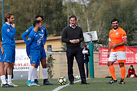 Francesco Totti scherza con i giocatori prima del calcio d'inizio<br /> Francesco Totti with the player just before the kick off<br /> Roma 23/12/2017. Totti Soccer School. Partita contro la violenza sulle donne in memoria di Sara di Pietrantonio.<br /> Rome November 23rd 2017. Totti Soccer School. Friendly soccer match fight violence against women.<br /> Foto Samantha Zucchi Insidefoto