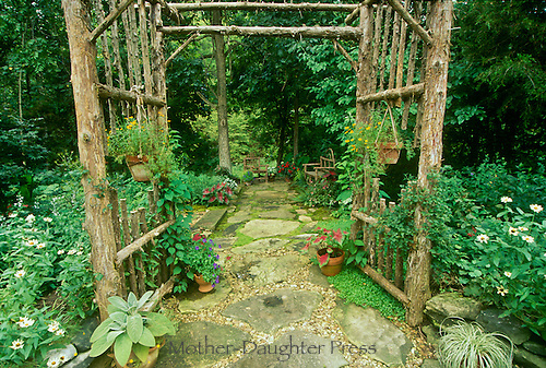 Entering the garden arbor into the elegant blooming shade garden- series #2