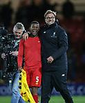 Liverpool's Jurgen Klopp celebrates with Georginio Wijnaldum during the Premier League match at Vicarage Road Stadium, London. Picture date: May 1st, 2017. Pic credit should read: David Klein/Sportimage