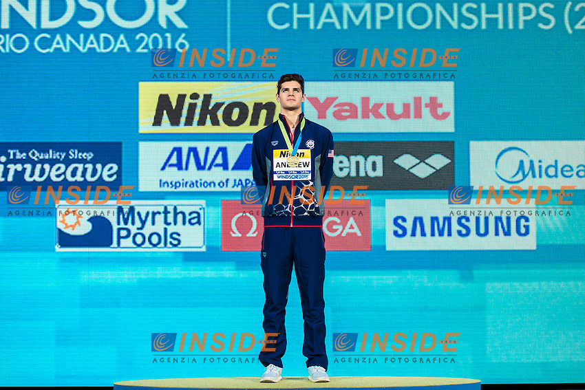 ANDREW Michael USA Gold Medal<br /> Men's 100m Individual Medley<br /> 13th Fina World Swimming Championships 25m <br /> Windsor  Dec. 9th, 2016 - Day04 Finals<br /> WFCU Centre - Windsor Ontario Canada CAN <br /> 20161209 WFCU Centre - Windsor Ontario Canada CAN <br /> Photo &copy; Giorgio Scala/Deepbluemedia/Insidefoto