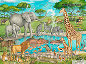 Ingrid, REALISTIC ANIMALS, REALISTISCHE TIERE, ANIMALES REALISTICOS, paintings+++++,USISMC48SS,#a#, EVERYDAY ,puzzles, water whole,safari,elephants,zebras,hippos,lions,africa