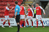 Fleetwood Town's Callum Connolly celebrates scoring his side's first goal with team-mates<br /> <br /> Photographer Kevin Barnes/CameraSport<br /> <br /> The EFL Sky Bet League One - Fleetwood Town v Peterborough United - Saturday 15th February 2020 - Highbury Stadium - Fleetwood<br /> <br /> World Copyright © 2020 CameraSport. All rights reserved. 43 Linden Ave. Countesthorpe. Leicester. England. LE8 5PG - Tel: +44 (0) 116 277 4147 - admin@camerasport.com - www.camerasport.com