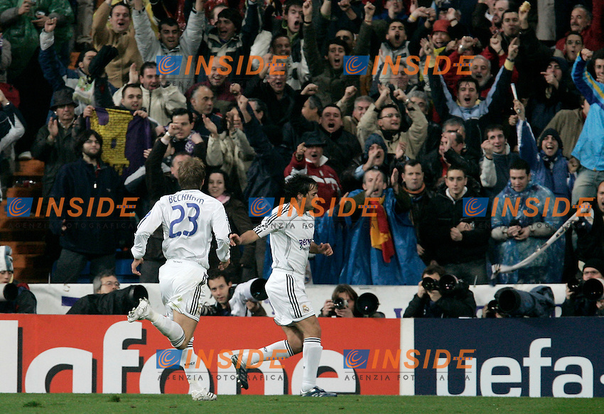 Real Madrid's Raul and David Beckham celebrate after Raul scored during UEFA Champions League match at Santiago Bernabeu stadium in Madrid, Tuesday February 20, 2007. (ALTERPHOTOS/Alvaro Hernandez).