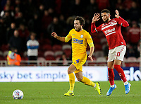 Preston North End's Ben Pearson steals the ball from Middlesbrough's Marcus Browne<br /> <br /> Photographer Alex Dodd/CameraSport<br /> <br /> The EFL Sky Bet Championship - Middlesbrough v Preston North End - Tuesday 1st October 2019  - Riverside Stadium - Middlesbrough<br /> <br /> World Copyright © 2019 CameraSport. All rights reserved. 43 Linden Ave. Countesthorpe. Leicester. England. LE8 5PG - Tel: +44 (0) 116 277 4147 - admin@camerasport.com - www.camerasport.com