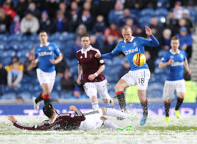 Alim Ozturk and Kenny Miller slide in the snow leaving referee Bobby Madden little choice but to call off the match