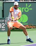 March 26 2017: Fernando Verdasco (ESP) battles against Kei Nishikori (JPN) in three sets at the Miami Open being played at Crandon Park Tennis Center in Miami, Key Biscayne, Florida. ©Karla Kinne/Tennisclix/Cal Sports Media