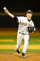 Wake Forest Demon Deacons relief pitcher Jack Fischer #15 delivers a pitch to the plate against the Maryland Terrapins at Wake Forest Baseball Park on March 9, 2012 in Winston-Salem, North Carolina.  The Demon Deacons defeated the Terrapins 10-5.  (Brian Westerholt/Four Seam Images)