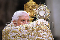 Pope Benedict XVI celebrates a New Year's Eve vespers service, at St. Peter's Basilica at the Vatican, Wednesday, Dec. 31, 2008.