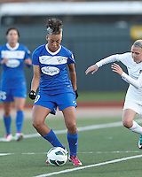 Boston Breakers forward Lianne Sanderson (10) passes the ball.  In a National Women's Soccer League Elite (NWSL) match, the Boston Breakers (blue) tied the Washington Spirit (white), 1-1, at Dilboy Stadium on April 14, 2012.