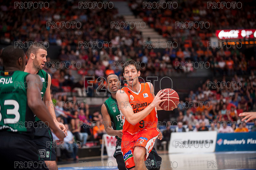 VALENCIA, SPAIN - OCTOBER 18: Sam Van Brossom during ENDESA LEAGUE match between Valencia Basket Club and FIATC Joventut at Fonteta Stadium on October 18, 2015 in Valencia, Spain
