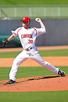 Mark Hardy #38 of the Canadian World Cup/Pan Am Team in action against Team USA at the USA Baseball National Training Center on September 29, 2011 in Cary, North Carolina.  (Brian Westerholt / Four Seam Images)