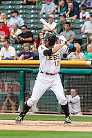 Kyle Kubitza (10) of the Salt Lake Bees at bat against the Tacoma Rainiers in Pacific Coast League action at Smith's Ballpark on September 1, 2015 in Salt Lake City, Utah. The Bees defeated the Rainiers 10-1. (Stephen Smith/Four Seam Images)