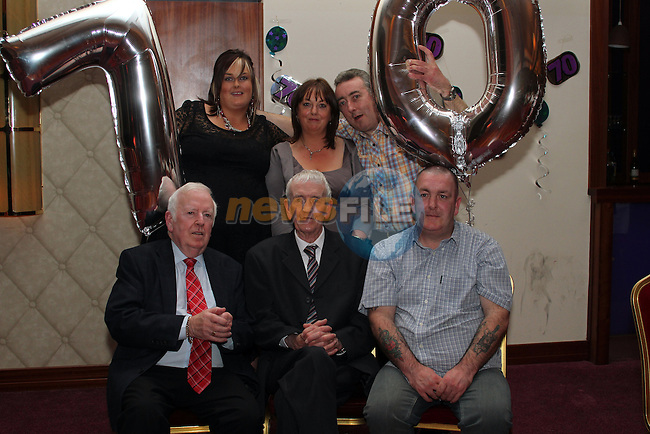 Michael Traynor with Nicola, Yvonne, Nicholas, Alan and Oliver Traynor at his 70th in the Bettystown Court Hotel....Picture Jenny Matthews/Newsfile.ie
