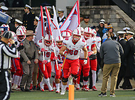 Annapolis, MD - November 11, 2017: Southern Methodist Mustangs offensive lineman Will Hopkins (60) leads the team before the game between SMU and Navy at  Navy-Marine Corps Memorial Stadium in Annapolis, MD.   (Photo by Elliott Brown/Media Images International)
