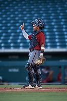 AZL Dbacks catcher Oscar Santos (8) during an Arizona League game against the AZL Cubs 2 on June 25, 2019 at Sloan Park in Mesa, Arizona. AZL Cubs 2 defeated the AZL Dbacks 4-0. (Zachary Lucy/Four Seam Images)
