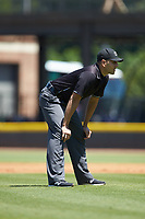 Umpire Raul Moreno works the Carolina League game between the Lynchburg Hillcats and the Winston-Salem Rayados at BB&T Ballpark on June 23, 2019 in Winston-Salem, North Carolina. The Hillcats defeated the Rayados 12-9 in 11 innings. (Brian Westerholt/Four Seam Images)