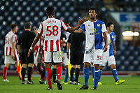 Blackburn Rovers' goalscorer Joe Nuttall shakes hands with Stoke City U23s' Scott Wara at the end of the game<br /> <br /> Photographer Andrew Kearns/CameraSport<br /> <br /> The EFL Checkatrade Trophy - Blackburn Rovers v Stoke City U23s - Tuesday 29th August 2017 - Ewood Park - Blackburn<br />  <br /> World Copyright &copy; 2018 CameraSport. All rights reserved. 43 Linden Ave. Countesthorpe. Leicester. England. LE8 5PG - Tel: +44 (0) 116 277 4147 - admin@camerasport.com - www.camerasport.com