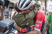 Stage winner Jasper Stuyven (BEL/Trek Segafredo) celebrating his win with his girlfriend. <br /> <br /> Binckbank Tour 2017 (UCI World Tour)<br /> Stage 7: Essen (BE) &gt; Geraardsbergen (BE) 191km