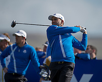 26.09.2014. Gleneagles, Auchterarder, Perthshire, Scotland.  The Ryder Cup.  Sergio Garcia (EUR) drives during the Friday Fourballs.