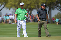 Gary Woodland  (USA) waves to the gallery after slam dunking his chip shot for eagle on 1 during day 1 of the WGC Dell Match Play, at the Austin Country Club, Austin, Texas, USA. 3/27/2019.<br /> Picture: Golffile | Ken Murray<br /> <br /> <br /> All photo usage must carry mandatory copyright credit (&copy; Golffile | Ken Murray)
