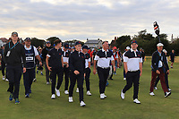 GB&I team members supporting Thomas Sloman (GB&I) on the 18th during Day 2 Singles at the Walker Cup, Royal Liverpool Golf CLub, Hoylake, Cheshire, England. 08/09/2019.<br /> Picture Thos Caffrey / Golffile.ie<br /> <br /> All photo usage must carry mandatory copyright credit (© Golffile | Thos Caffrey)