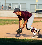 NAUGATUCK , CT-072920JS07—Naugatuck's first baseman Tristin Crelan (13) fields a ground ball for the out during their CT Elite Baseball Association's game against Bethel Wednesday at Naugatuck High School. <br />  Jim Shannon Republican-American