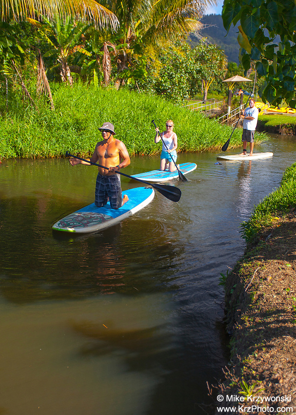 Stand up paddleboarding on the Hanalei River, Kaua'i