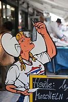 Europe/Autriche/Niederösterreich/Vienne: Marché Naschmarkt - Enseigne d'un marchand de poissons fumés