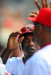 3 July 2009: Washington Nationals' center fielder Nyjer Morgan recently acquired from the Pittsburgh Pirates, returns to the dugout after scoring the the first run of the game, and his first run in a Nats uniform against the Atlanta Braves at Nationals Park in Washington, DC. The Braves defeated the Nationals 9-8, to take the first game of the 3-game weekend series. Mandatory Credit: Ed Wolfstein Photo