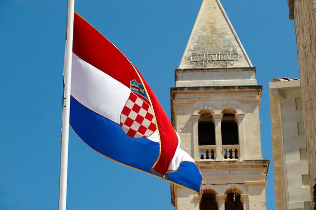 Croatian national flag, Supetar harbour, Bra? island, Croatia