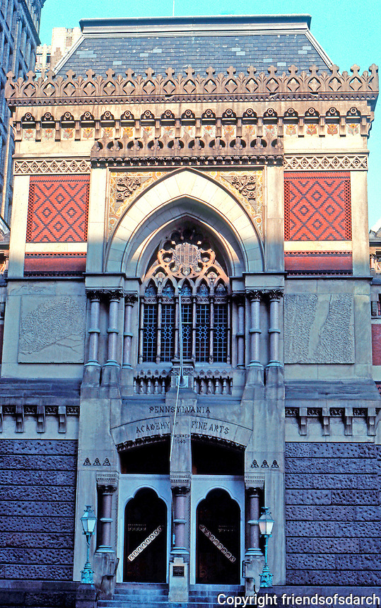 Frank Furness: Pennsylvania Academy of Fine Arts, 1872-1876. Facade.  Photo '76.