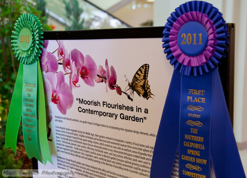 """The Orange Coast College Hotriculture Club entered the 2011 Spring Garden Show landscape design competition (http://www.springgardenshow.com/) and won first place in the student category for their """"Moorish Flourishes in a Contemporary Garden"""" design."""