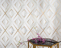 Simone, a waterjet stone mosaic, shown in honed Calacatta Gold, honed Thassos, and brushed Bronze. Simone, a waterjet stone mosaic, shown in honed Calacatta Gold, honed Thassos, and brushed Brass, is part of The Studio Line of Ready to Ship mosaics.<br />