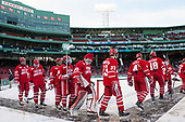 Doyle Somerby (BU - 27), John MacLeod (BU - 16), Nick Roberto (BU - 15), Clayton Keller (BU - 19), Connor Lacouvee (BU - 30), Jakob Forsbacka Karlsson (BU - 23), Brandon Hickey (BU - 4), Jordan Greenway (BU - 18), Tommy Kelley (BU - 22) - The Boston University Terriers defeated the University of Massachusetts Minutemen 5-3 on Sunday, January 8, 2017, at Fenway Park in Boston, Massachusetts.The Boston University Terriers defeated the University of Massachusetts Minutemen 5-3 on Sunday, January 8, 2017, at Fenway Park.