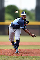 Tampa Bay Rays minor league pitcher Alex Colome (37) during an extended spring training game against the Boston Red Sox on April 16, 2014 at Charlotte Sports Park in Port Charlotte, Florida.  (Mike Janes/Four Seam Images)