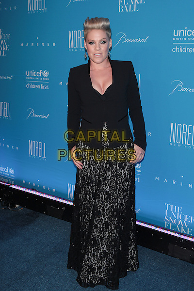 NEW YORK, NY - DECEMBER 1: Pink at the 11th Annual UNICEF Snowflake Ball at Cipriani, Wall Street on December 1, 2015 in New York City.  <br /> CAP/MPI99<br /> &copy;MPI99/Capital Pictures