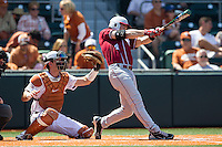 Oklahoma Sooners outfielder Hunter Haley #4 swings the bat against the Texas Longhorns in the NCAA baseball game on April 6, 2013 at UFCU DischFalk Field in Austin, Texas. The Longhorns defeated the rival Sooners 1-0. (Andrew Woolley/Four Seam Images).
