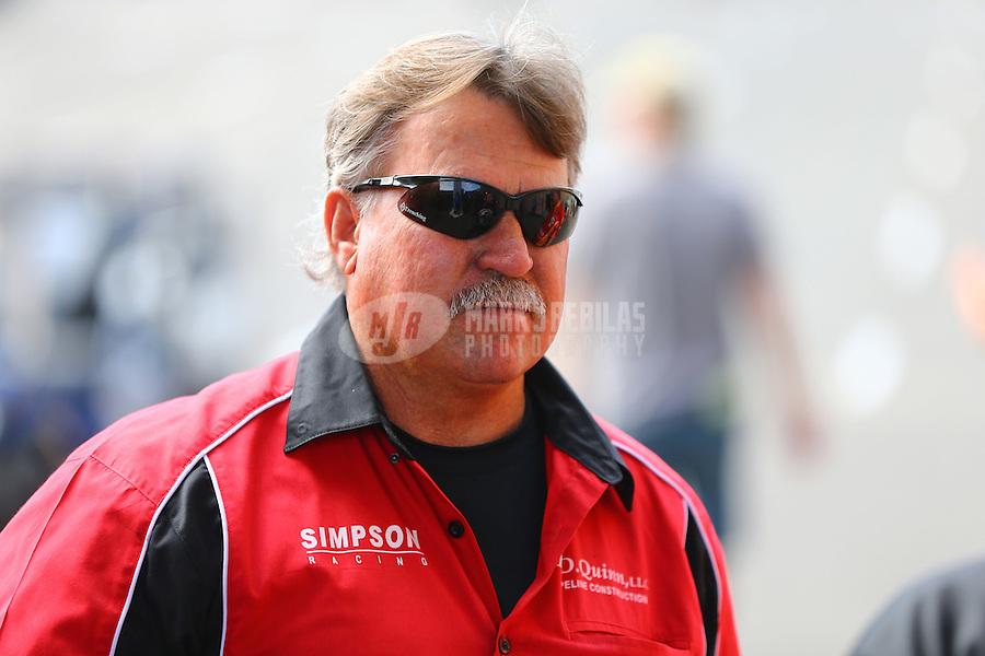 Jul 24, 2016; Morrison, CO, USA; NHRA funny car driver Todd Simpson during the Mile High Nationals at Bandimere Speedway. Mandatory Credit: Mark J. Rebilas-USA TODAY Sports