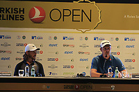 Tommy Fleetwood and Justin Rose (ENG) at a press conference during Wednesday's Pro-Am of the 2018 Turkish Airlines Open hosted by Regnum Carya Golf &amp; Spa Resort, Antalya, Turkey. 31st October 2018.<br /> Picture: Eoin Clarke | Golffile<br /> <br /> <br /> All photos usage must carry mandatory copyright credit (&copy; Golffile | Eoin Clarke)