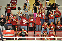17 April 2008:  Stanford fans cheer the team's first place result during the team qualifying rounds of the 2008 NCAA Men's Gymnastics Championships at  Maples Pavilion in Stanford, CA.