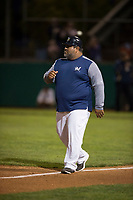 Helena Brewers manager Nestor Corredor (9) during a Pioneer League game against the Orem Owlz at Kindrick Legion Field on August 21, 2018 in Helena, Montana. The Orem Owlz defeated the Helena Brewers by a score of 6-0. (Zachary Lucy/Four Seam Images)